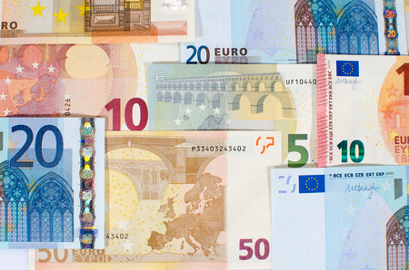 several: Background of several euro banknotes Stock Photo