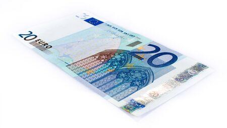 twenty euro banknote: Twenty euro banknote, isolated on white