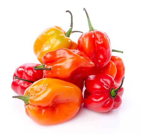Fresh habanero peppers, isolated on white