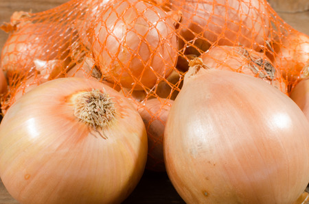 flavorings: Fresh bulbs of onions, closeup