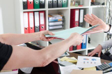 refusing: Overworked businessman refusing work Stock Photo