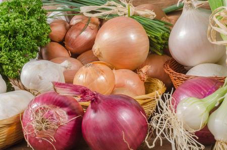 Sfondo di diversi tipi di cipolle, aglio e scalogno Archivio Fotografico - 42630056