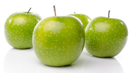 green apples: Fresh green apples, isolated on white