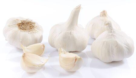 clove plant: Fresh garlic, isolated on white Stock Photo