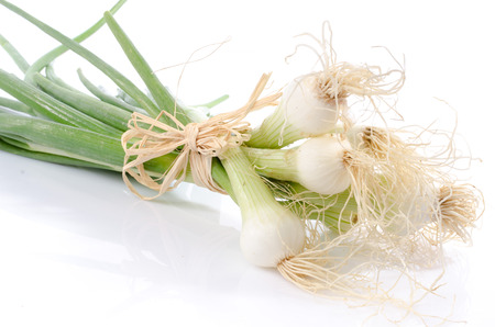 bulb and stem vegetables: Bunch of fresh green onions, isolated on white