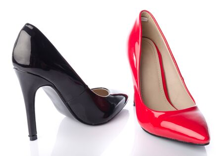 fetish wear: Black and red high heel shoe, isolated on white Stock Photo