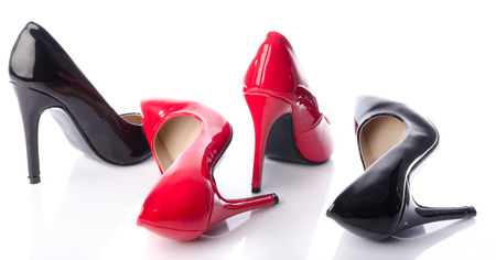 leather shoes: Black and red high heel shoe, isolated on white Stock Photo