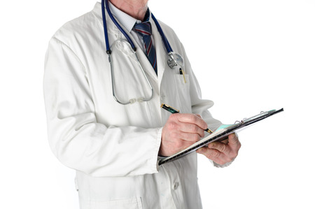 doctor writing: Doctor writing on a clipboard, isolated on white