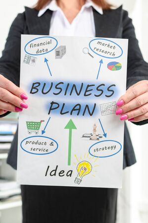 businessplan: Businesswoman showing business plan concept at office