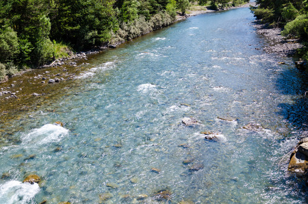 flowing river: Top view of flowing river Stock Photo
