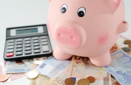 banco dinero: Piggy bank, money and calculator