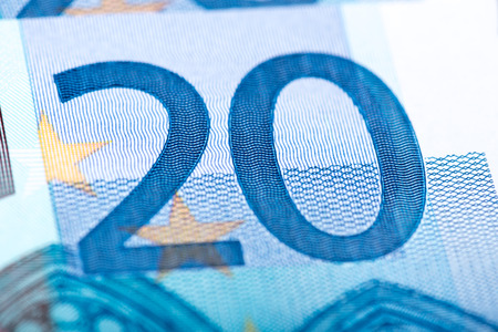 twenty euro banknote: Twenty euro banknote, closeup