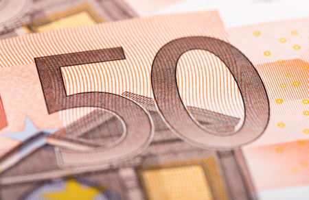 fifty euro banknote: Fifty euro banknote, closeup