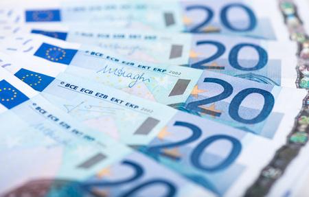 twenty: Background of twenty euro banknotes