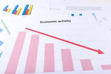 Graph showing economy decline