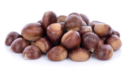 heap: Heap of raw chestnuts Stock Photo