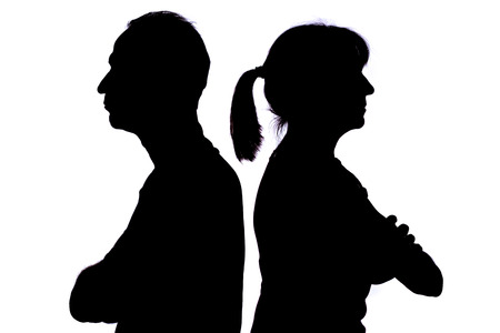 people shadow: Silhouette of couple having conflict Stock Photo