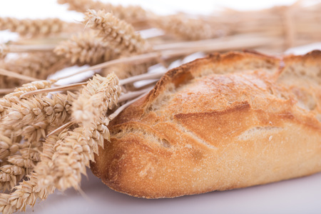 crusty: Crusty baguette with ears of wheat Stock Photo