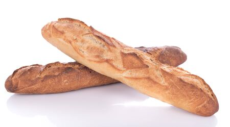 crust crusty: Crusty fresh baguettes, isolated on white