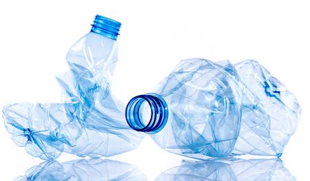 Crushed plastic bottles, isolated on white