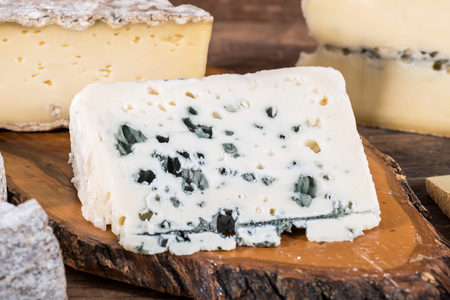 roquefort: French roquefort cheese with other types of cheese Stock Photo