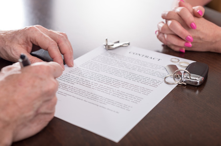 separation: Husband signing separation contract infront of his wife (random english dummy text used)