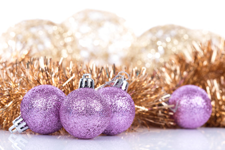 the tinsel: Pink Christmas balls and tinsel Stock Photo