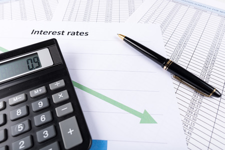 interest: Interest rates documents with calculator Stock Photo