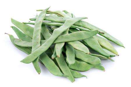 Fresh flat green beans, isolated on white Foto de archivo
