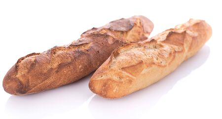 crusty: Crusty fresh baguettes, isolated on white