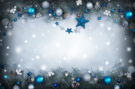 christmas backdrop: Christmas background with a frame of fir branches decorated Stock Photo