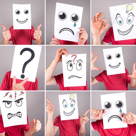 interrogativa: Concepto de expresiones, collage Foto de archivo