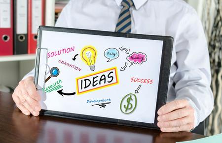 shown: Ideas concept shown by a businessman