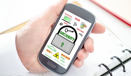 hand held computer: Data security concept shown on a smartphone screen