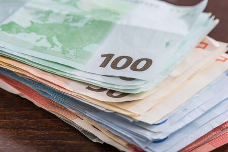 heap: Heap of euro banknotes Stock Photo