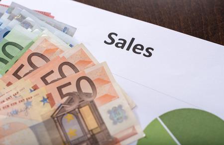 banconote euro: Sales concept with euro banknotes Archivio Fotografico