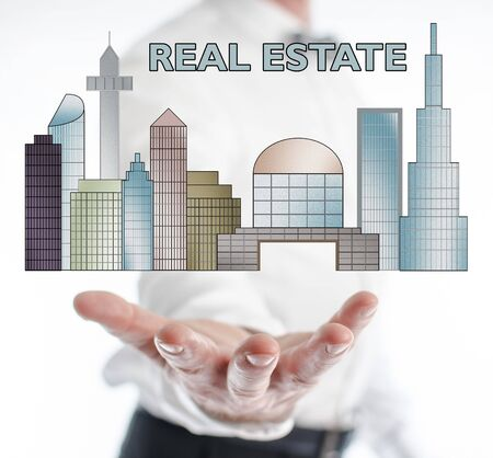 levitate: Real estate concept levitating above a hand of a man
