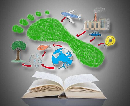 carbon footprint: Carbon footprint concept above an open book
