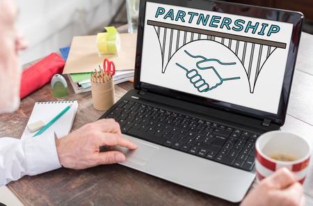 shown: Partnership concept shown on a laptop screen Stock Photo