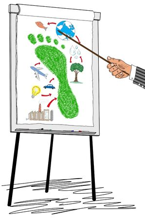 Hand showing carbon footprint concept on a flipchart