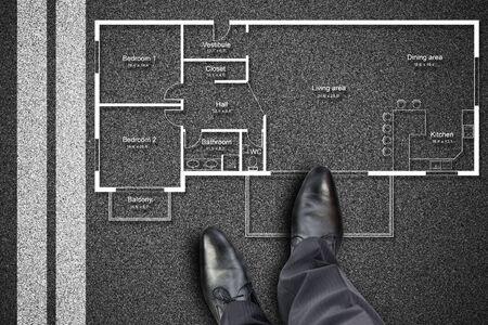 floorplan: Feet in front of apartment plan concept