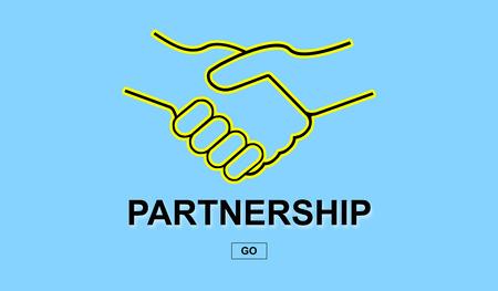 Partnership concept with handshake on blue background