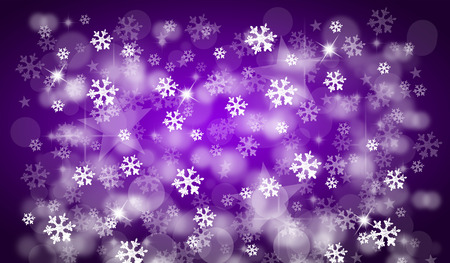 Purple christmas background with snowflakes and bokeh