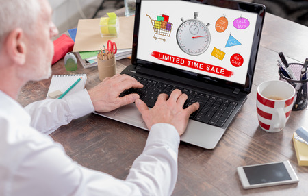 laptop screen: Limited time sale concept shown on a laptop screen Stock Photo