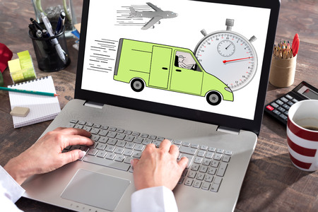 laptop screen: Express delivery concept shown on a laptop screen Stock Photo