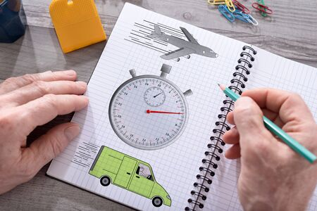 freighter: Express delivery concept drawn on a notepad placed on a desk Stock Photo