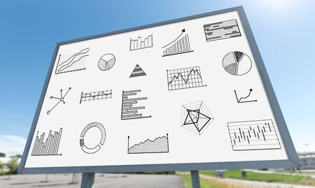 graphical: Graphical analysis concept drawn on a billboard Stock Photo
