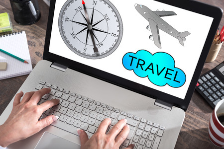 laptop screen: Travel concept shown on a laptop screen