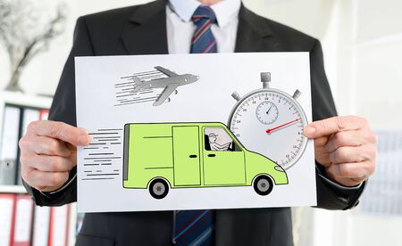 held: Paper showing express delivery concept held by a businessman
