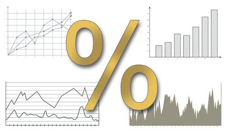 rates: Interest rates concept on white background Stock Photo